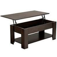 SmileMart Modern Wood lift Top Coffee Table with Hidden Compartment and lower Shelf  Espresso