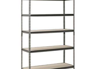 Muscle Rack 48  W x 18  D x 72  H  5 Shelf Steel Shelving  Silver Vein