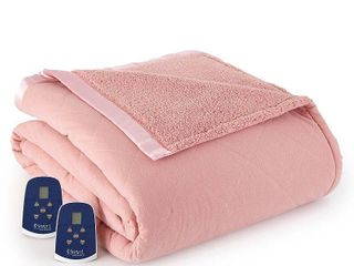 Shavel Quilted Micro Flannel to Sherpa 6 layer Heated Electric Blanket Retail 179 99