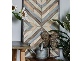 Decmode Rustic Wood Framed Chevron Wall Art  Distressed White