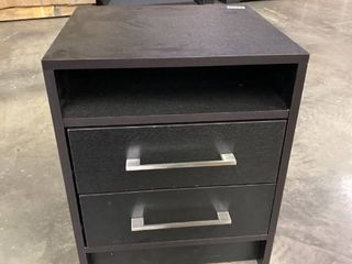 Two Drawer Side Table  Dark Wood Silver Handles