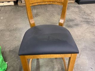 Black leather and Wood Counter Stool