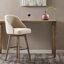 Sand  Madison Park Walsh Grey Upholstered Bar Stool with Swivel Seat Retail 255 99