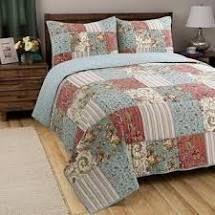 Porch   Den Appy Coral Aqua Ivory Patchwork Reversible 3 piece Quilt Set  Retail 86 49