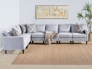 END PIECE ONlY Grey  Zahra 7 piece Fabric Sectional Sofa Set by Christopher Knight Home  Retail 1188 99