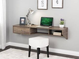 Modern Floating Desk with Drawer Drifted Gray   Prepac
