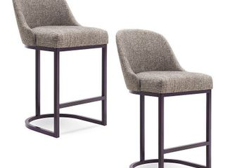 Set of 2 Barrelback Counter Stool with Metal Base Espresso Gray linen   leick Home