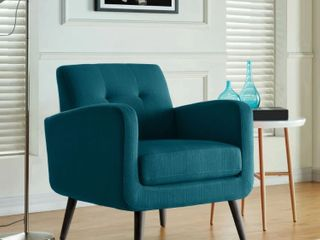 Keflavik Mid century Peacock Blue linen Arm Chair  Retail 236 49