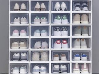 Clear Plastic Stackable Shoe Storage Boxes Shoe Pack