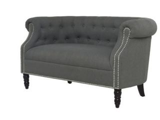 Handy living Chesterfield Charcoal Grey linen loveseat  Retail 478 99