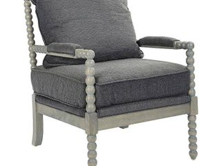 Ave Six Abbot Chair in Charcoal Fabric with Brushed Grey Base