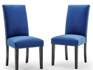 Parcel Performance Velvet Dining Side Chairs   Set of 2 in Navy Blue