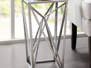 Jaye Silver Angular Mirror Accent Table   Silver Mirror 21x12