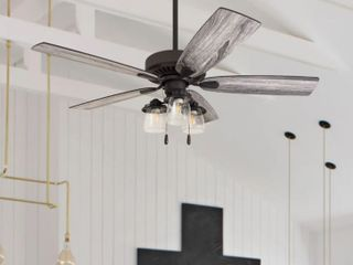 The Gray Barn Chequers 52 inch Coastal Indoor lED Ceiling Fan with Pull Chains 5 Reversible Blades   Retail 203 99