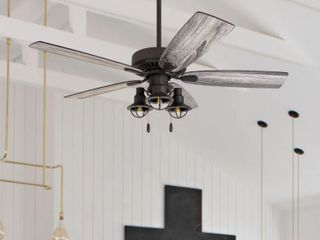 The Gray Barn Kedelston 52 inch Coastal Indoor lED Ceiling Fan with PUll Chains 5 Reversible Blades Retail   174 99