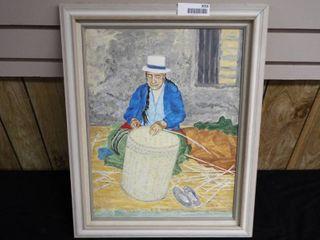 K  Root basket weaver canvas oil painting