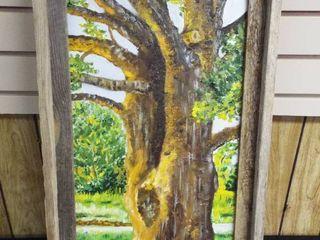 N  Tush Tree canvas w barn like frame