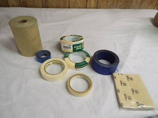 lot of masking tape and masking paper