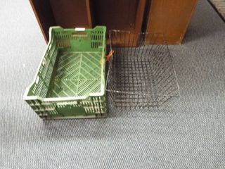 Green crate and metal basket