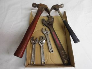 2  Hammers and 4  adjustable wrenches