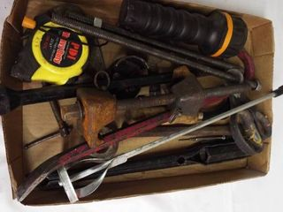 lot with measuring tape  C clamp  flashlight  crow bar and more