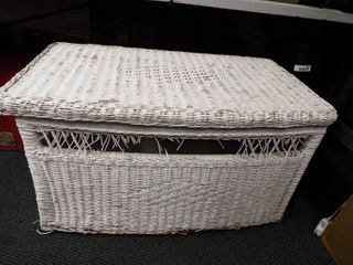 Wicker toy box  does have ware and tear on it