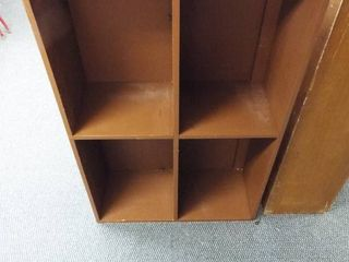 Wooden shelving unit with big cubby s  48  T x 30  W x 12  D