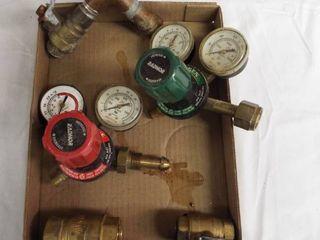 lot with 3 shut off valves  Radnor oxygen gauge and a Radnor acetylene gauge