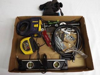lot with small level  gloves  safety glasses  lighter and more