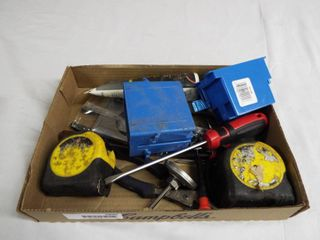 lot with tape measures  flat head  white lithium grease and more