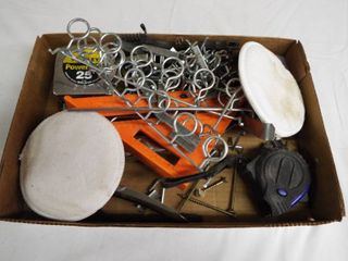 lot with tape measure  stapler  staples  corner measuring triangle and more