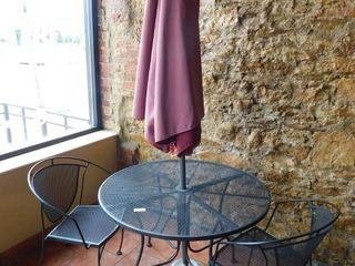Metal Dining Height Patio Table With Umbrella   2 Metal Chairs