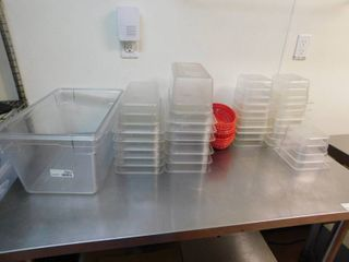 lot Of Assorted Size Plastic Pans Fry Baskets