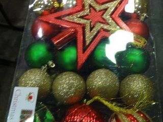 lot of Red  Green  and Gold Christmas Ornaments