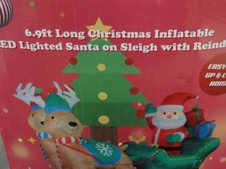 6 9ft long Christmas Inflatable lED lighted Santa on Sleigh with Reindeers