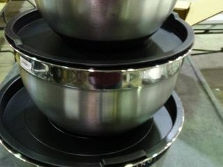 lot of Stainless Steel Bowls with lids