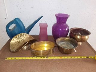 lot of Metal and Glass Planters Vases