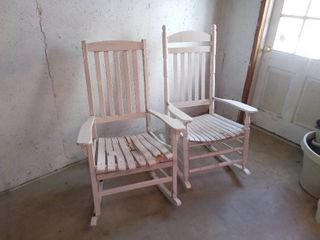 Pair of White Wood Rocking Chairs One Needs TlC