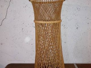 Nice Wrapped Rim Rattan Plant Stand In Good Shape