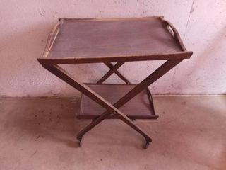 Wood Rolling Serving Cart With Removable Trays