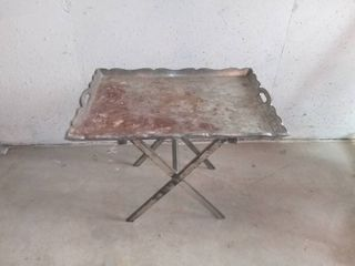 Metal Serving Tray Plant Stand With Folding Base