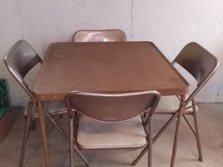 Vintage Samsonite Folding Card Table and 4 Chairs