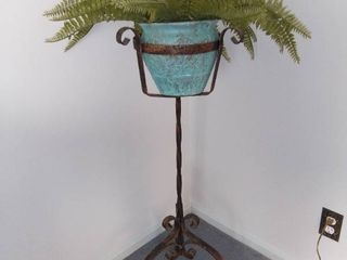 Iron Plant Stand With Faux Fern