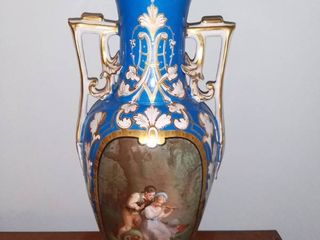 Beautiful Gilded Tall Vase With Kids Playing Music in the Woods