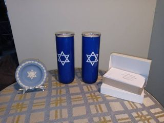 A Pair Of Yahrzeit Candles With Two Boxes Of Thank You Cards