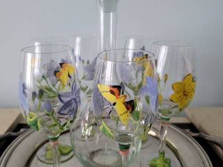 Hand Painted Butterfly 6 Piece Set of Wine Glasses and Decanter