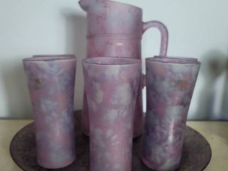 MCM Made in Isreal Purple Splatter Ice Tea Set   5 Tumblers and Platter