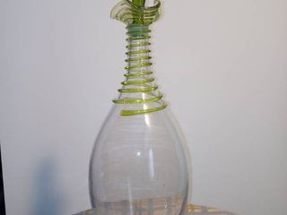 A Beautiful large Green And Clear Glass Spiral Top Decorated Decanter