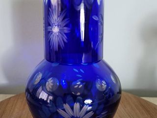 Bohemian Cobalt Clear to Cut Crystal Decanter and Scotch Glass