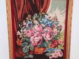 Needlepoint Floral Wall Art